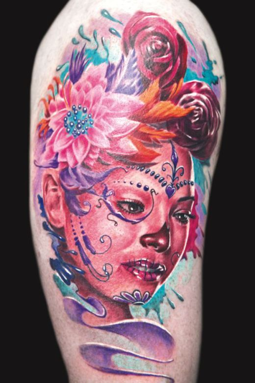 Realistic portrait with day of the dead makeup by Remis #InkedMagazine #dayofthedead #portrait #tattoo #tattoos #Inked #Ink #art