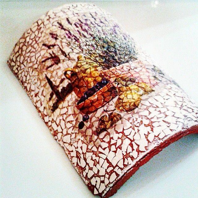 Eggshell Mosaic & Decoupage on ceramic roof tile! #tile #egg #eggshell #mosaic #decor #decoupage #painting #art #crafts #skg #thessaloniki #artist #drawing #drawings #flower #paintings #watercolor #oilcolor #ink #creative #artsy #artproject #eggshellmosaic #arte #dibujo #artwork #Art2Art #color #colour #tagstagramers