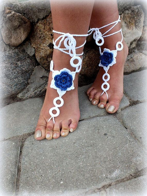 Crochet Barefoot Sandals Nude shoes Foot Jewelry by Selanestore, $13.00