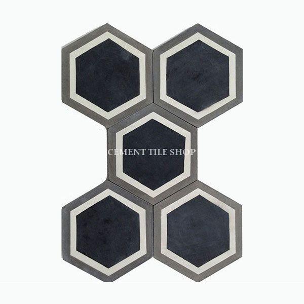 Cement Tile Shop - Handmade Cement Tile | Hex Frame Black