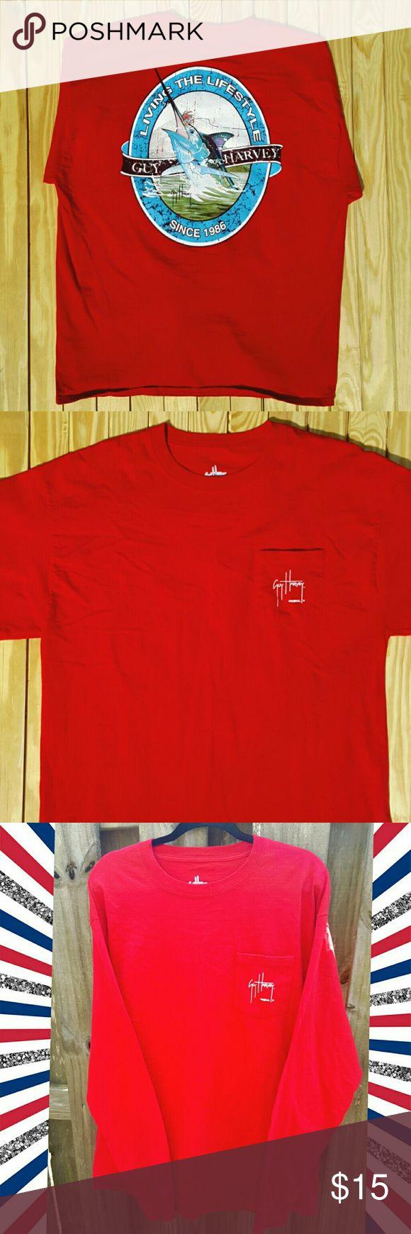 WEEKEND SALE Men's long sleeve Red Guy Harvey Men's long sleeve Guy Harvey shirt Guy Harvey  Shirts Tees - Long Sleeve