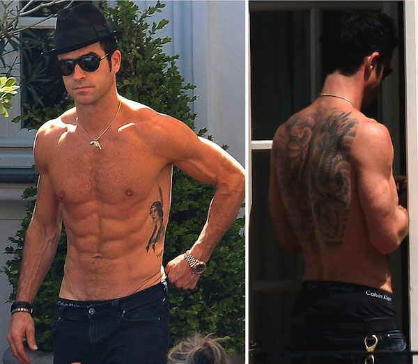 American actor, Justin Theroux shirtless...