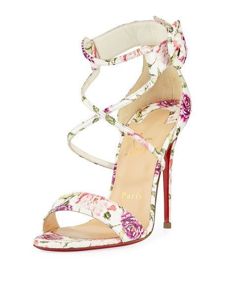 Choca Floral Snake Red Sole Sandal by Christian Louboutin at Neiman Marcus