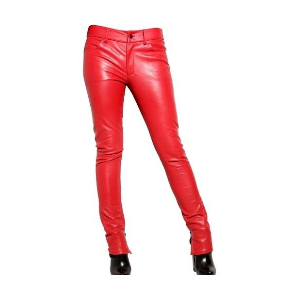 American Retro Super Slim Lamb Leather Trousers ($530) ❤ liked on Polyvore featuring pants, bottoms, jeans, red, trousers, women, zipper trousers, american retro, slim pants and slim fit pants
