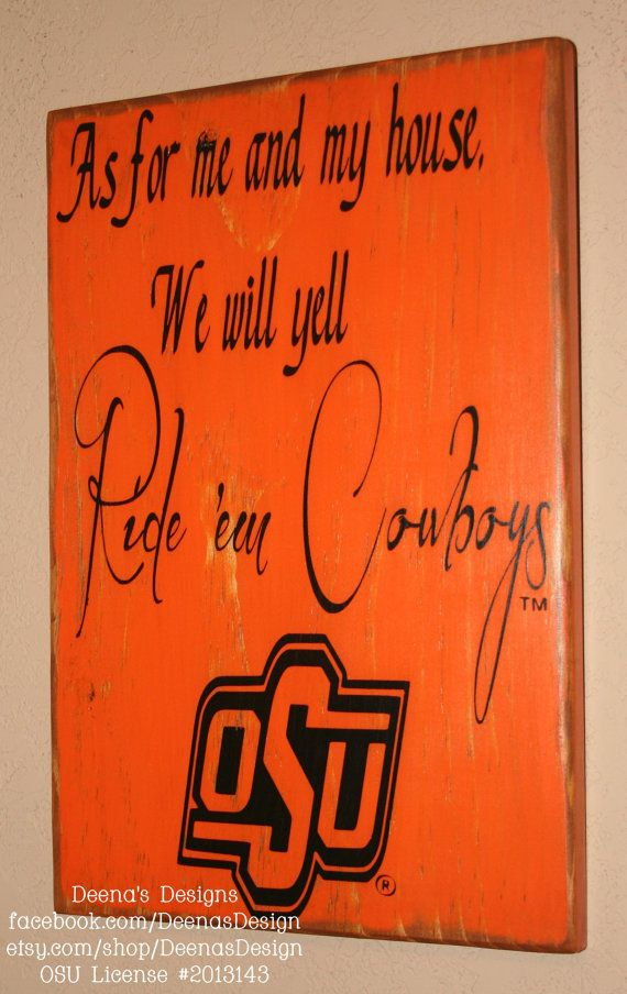 Oklahoma State University Wall Art, OSU Cowboys, Distressed Wood Signs, Wood Signage, Dorm Decor, Ride em Cowboys - Officially Licensed