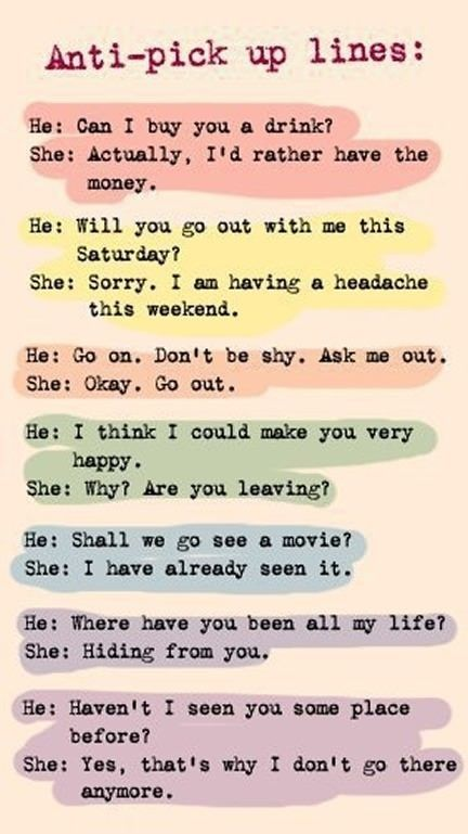 Anti-pick up lines // funny pictures - funny photos - funny images - funny pics - funny quotes - #lol #humor #funnypictures thanks @Jò in Wonderland S haha     See More about pick up lines, funny pictures and pictures.  See More:    http://wdb.es/?utm_campaign=wdb.es&utm_medium=pinterest&utm_source=pinterst-description&utm_content=&utm_term=