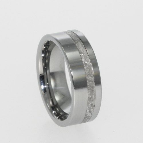Meteorite Offset Inlaid in Titanium Ring by jewelrybyjohan on Etsy, $399.00 for my honey