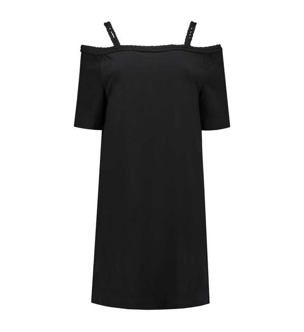 Nikkie korte jurk Sutton Bardot. Deze loose fit jurk heeft blote schouders en een gevlochten detail aan de bovenzijde. Gemaakt van 100% rayon in de kleur zwart.