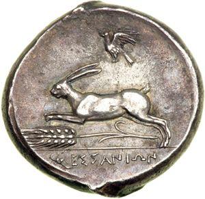Bilde fra http://www.thehoneybeeandthehare.com/wp-content/uploads/2013/03/Sicilian-coin-with-Hare-motif.jpg.