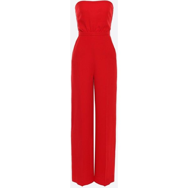 Valentino Cady Couture Jumpsuit ($1,100) ❤ liked on Polyvore featuring jumpsuits, dresses, pants, playsuit, rompers, red, tall romper, romper jumpsuit, jump suit and tall jumpsuit