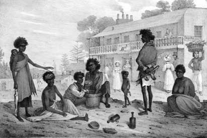 1830s: An old image of Aboriginal people on George Street in Sydney