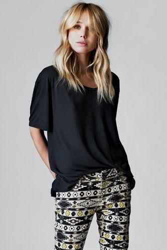 black top + printed pants.