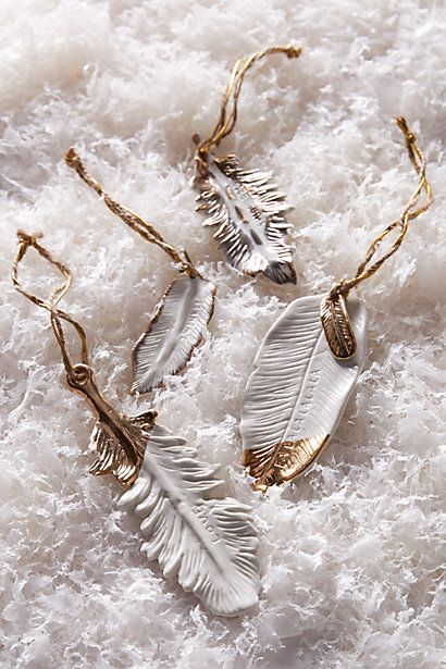 gold-flecked feather ornament #anthrofave #christmasdecor #anthropologie
