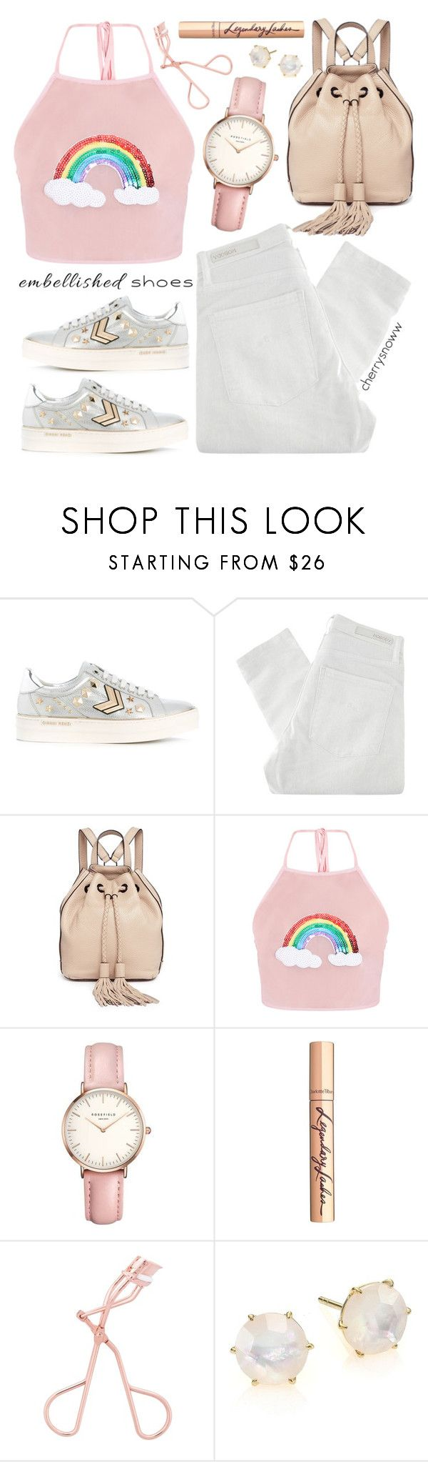 """""""Spring outfit: Embellished shoes"""" by cherrysnoww ❤ liked on Polyvore featuring Gianni Renzi, Nobody Denim, Rebecca Minkoff, Topshop, Charlotte Tilbury and Ippolita"""