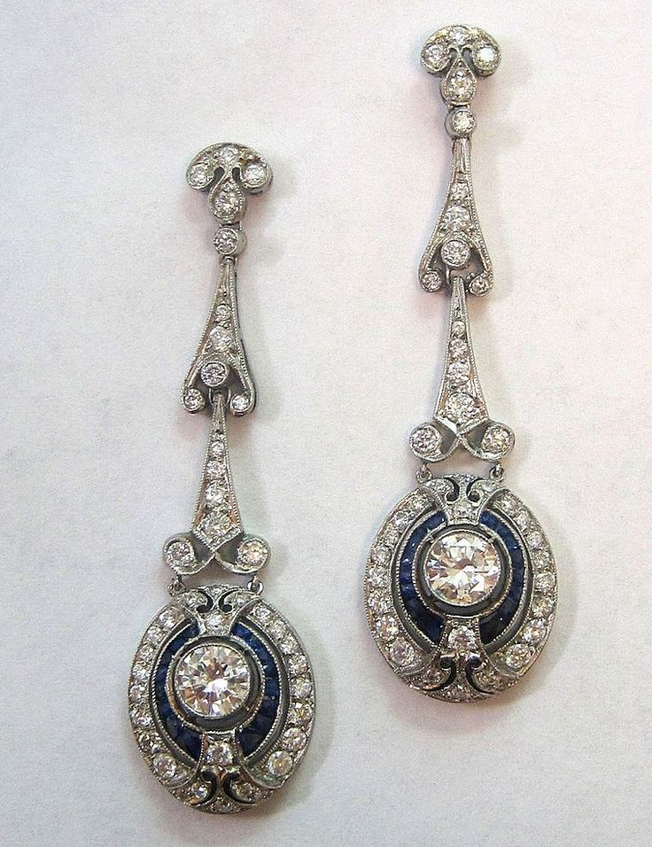 Platinum diamond and sapphire Art Deco earrings.