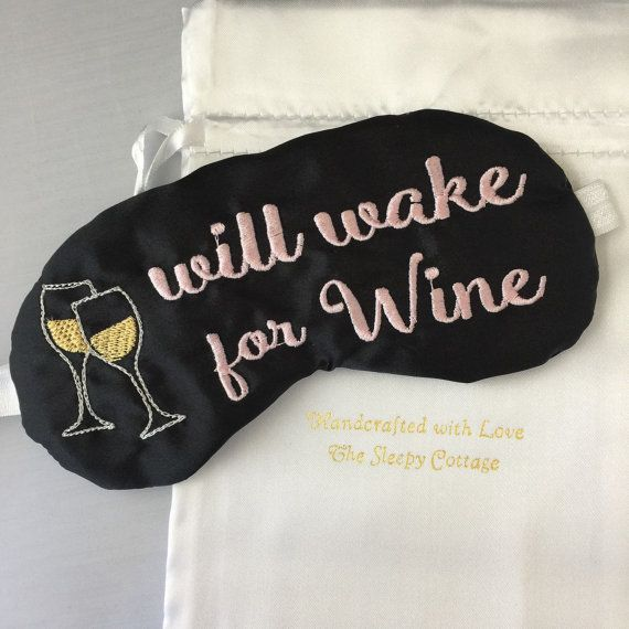 Will Wake For Wine Sleep Mask Pink And Black By