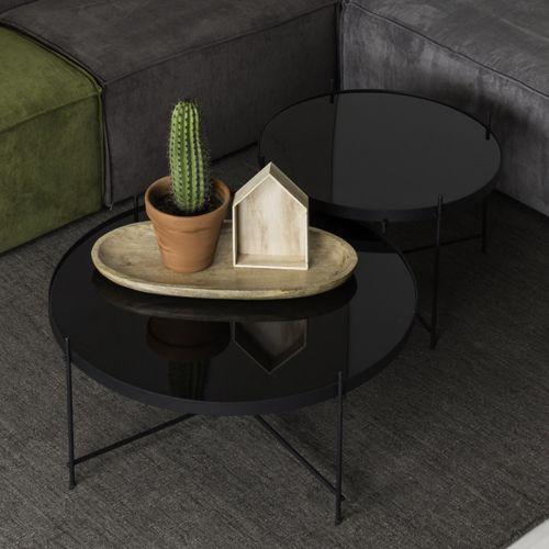 Table basse ronde plateau verre noir pieds métal Cupid Zuiver