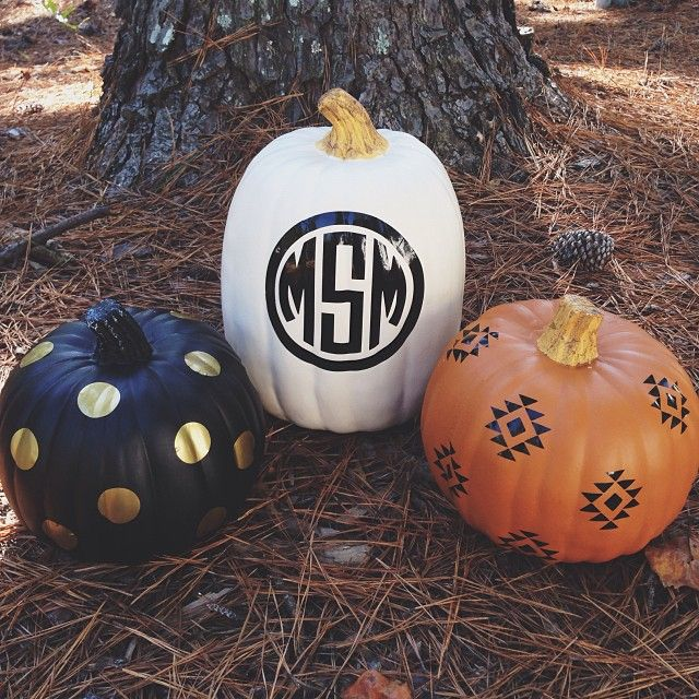Painted monogram, tribal, and polka dot pumpkins  Happy Fall, y'all!
