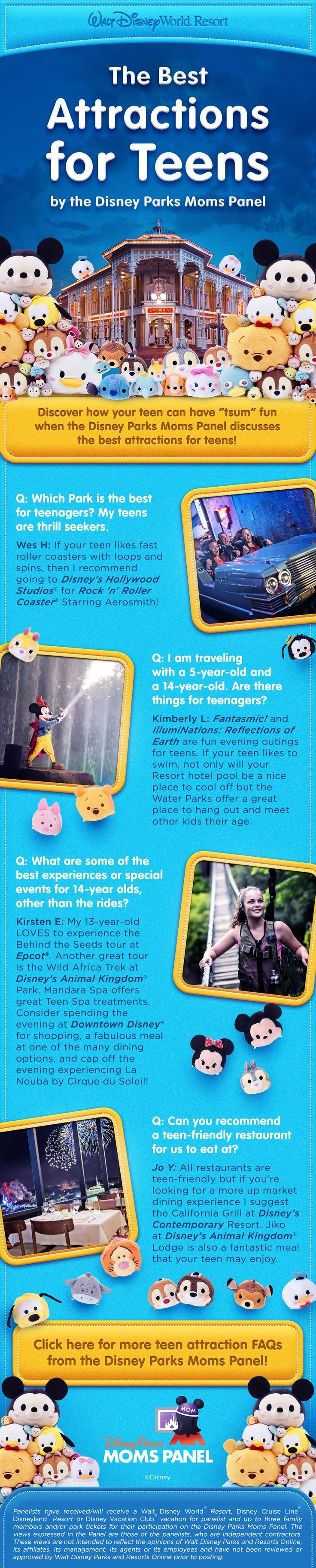The Disney Parks Moms Panel answers questions about what Walt Disney World attractions and experiences are good for those families traveling with teens! adventures by disney, disney adventures #disney