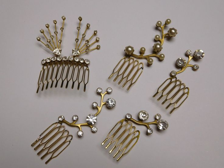 Lot Gold Tone Rhinestone Faux Pearl Hair Metal Comb Bobby Pin Accessory | eBay