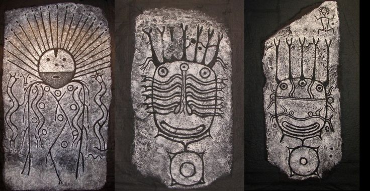 Stones with Okunev's culture petroglyph  (first half of 2nd millennium BC)  in the National museum of Republic of Khakassia (HAKASYA