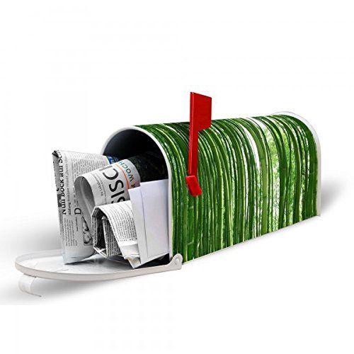 banjado - weiße US Mailbox 17cm x 22cm x 51cm amerikanischer Briefkasten mit Motiv Bambus, Briefkasten mit schwarzem Standfuß