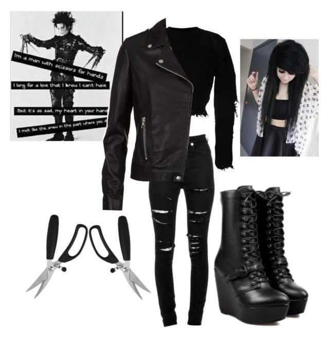 """Girl Version of Edward Scissor Hands"" by firecutie ❤ liked on Polyvore featuring Yves Saint Laurent, Yeezy by Kanye West and SET"