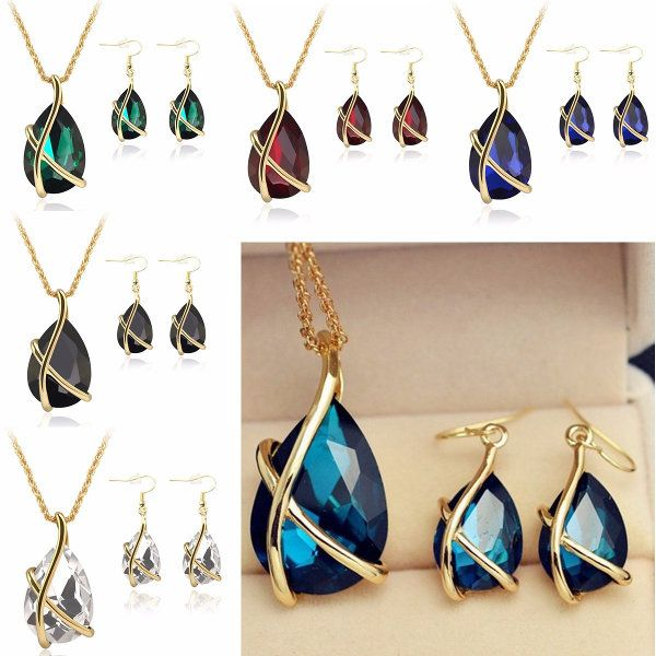 Crystal Water Drop Necklace Earrings Jewelry Set For Women at Banggood
