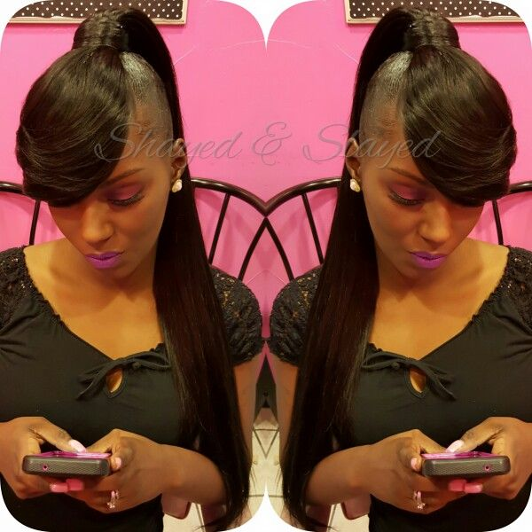 My Extended Ponytail & Bangs   Makeup  by Me  IG: Shayes_dvine_perfection FB: Shayes D'vine Perfection Book online at; ➡Www.styleseat.com/shalandawilliams2