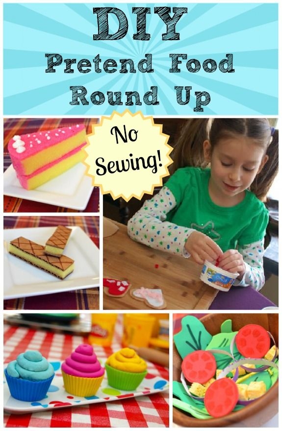 DIY Pretend Food Round Up... also has links for felt pasta and cardboard gingerbread. So much fun!