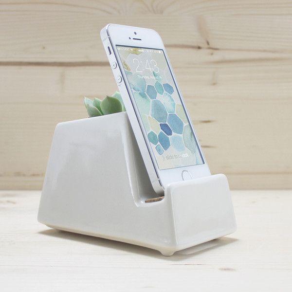 Gloss White Stak Ceramics Phone Dock:
