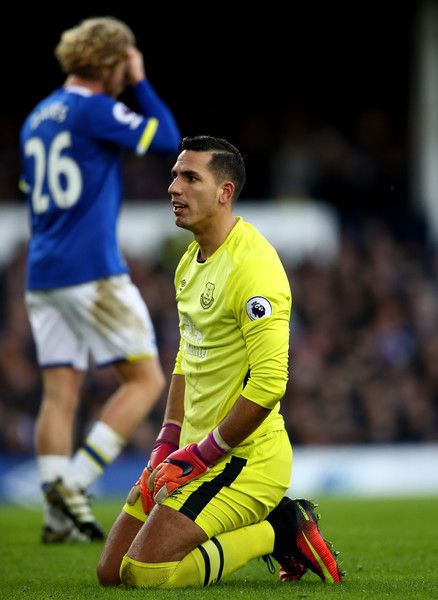 Joel Robles of Everton reacts during the Premier League match between Everton and Southampton at Goodison Park on January 2, 2017 in Liverpool, England.
