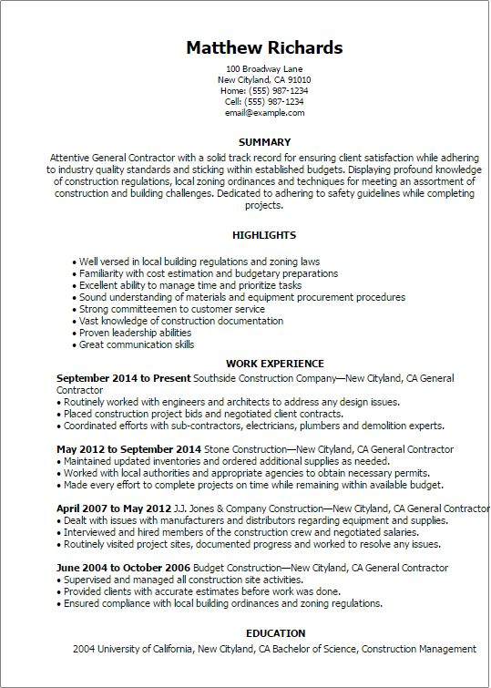 Resume Templates General Contractor Resume Cover
