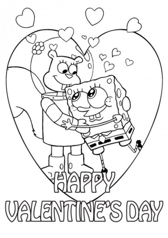 Valentine Coloring Sandy And Spongebob Page