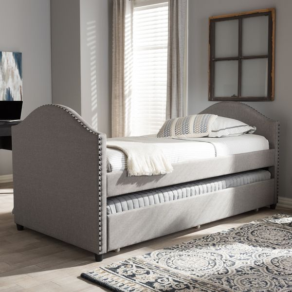 Baxton Studio Kleisthenes Modern Upholstered Daybed with Guest Trundle Bed   Overstock.com Shopping - The Best Deals on Kids' Beds