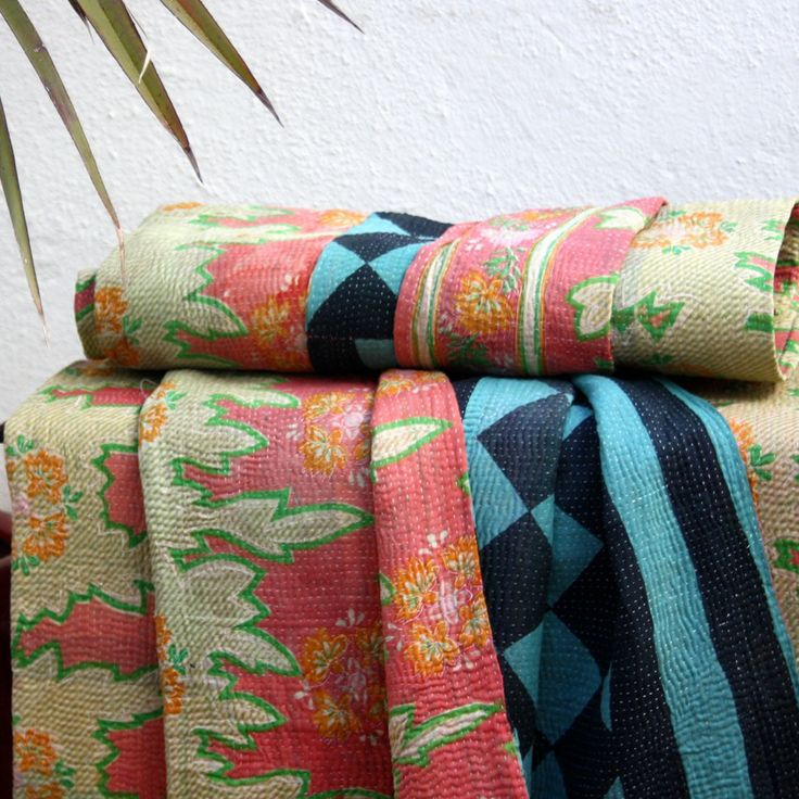 BLUE DIAMOND / PEACH VINATGE KANTHA THROW- Unique, handembroidered throw made out of old saris & pieces of materials, totally recycled & so pretty, would make such a unique gift for someone...can be draped on a couch or on a bed.