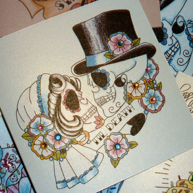 Sugar Skull Couples Tattoo. I realllllllly want this. Only problem is where to put it??