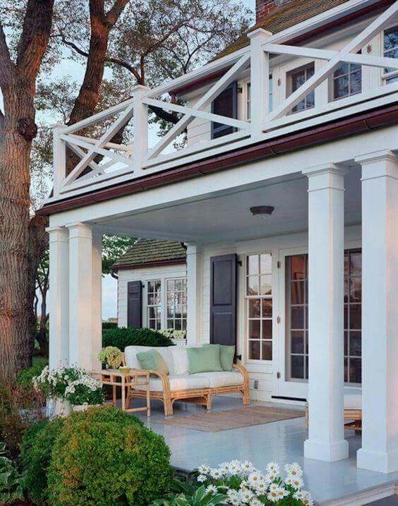 Exterior Backyard Porch With Balcony, #coastal Style