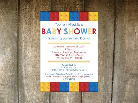 LEGO Building Blocks Baby Shower Invitation on Etsy, $20.00