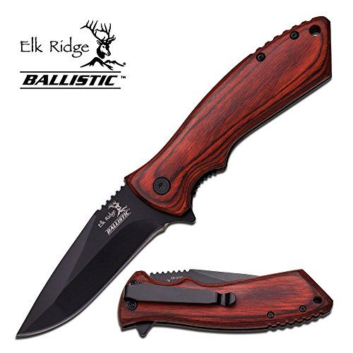 8 Elk Ridge Wood Hunting Spring Assisted Open Gentleman Folding Pocket Knife'...