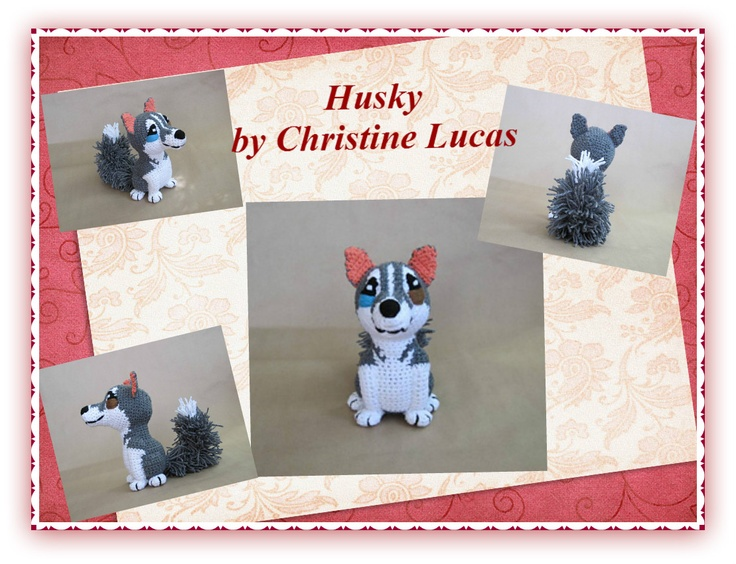 """Husky by Christine Lucas - This pattern is available for $3.50 USD. NEW FEATURE: This pattern comes with five pages of step by step photographs to aide you in the construction of your Husky.  This little guy was created from my own original pattern. His finished dimensions are  Body – 4-1/2""""W x 9-1/4""""H x 3-1/2""""L (measurements do not include ears or feet)  Tail – Approx. 7""""L,"""