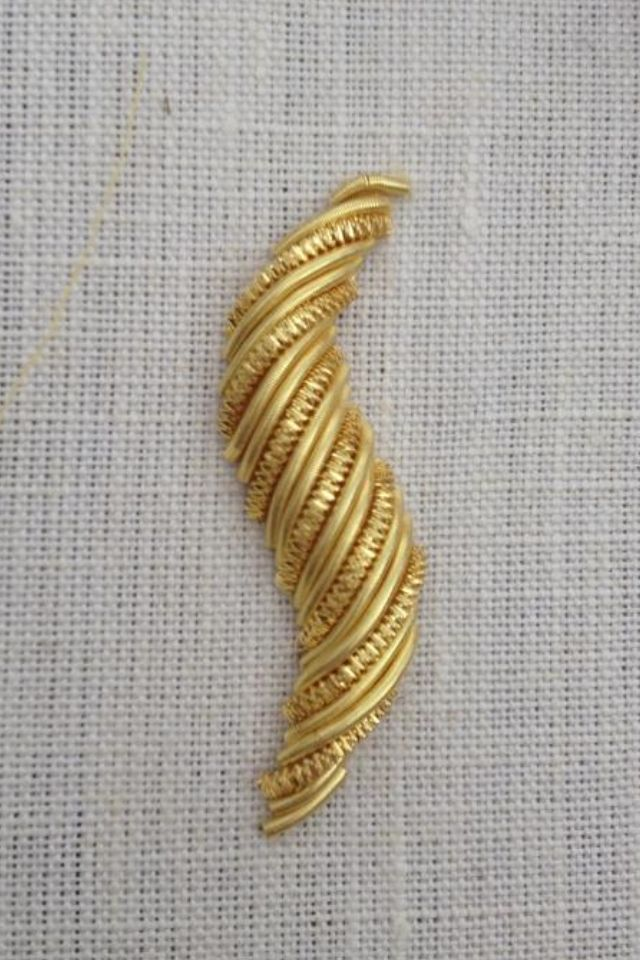 Goldwork Swirl ~ embroidered and uploaded to Pinterest by Rie Wenham Embroidery