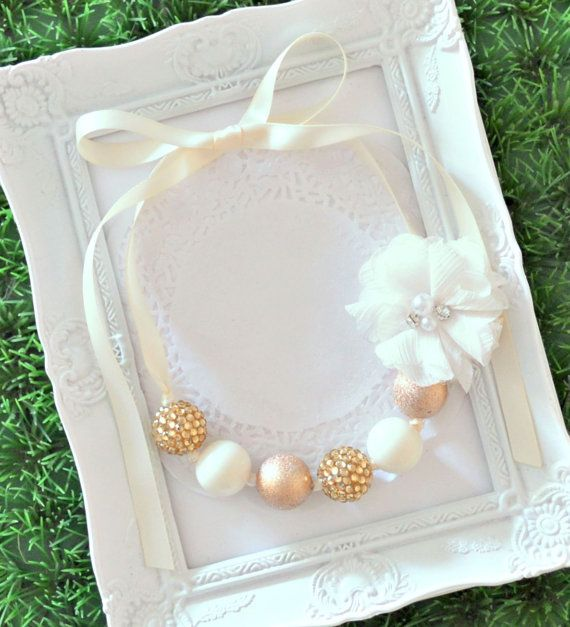 Ivory / Cream & Gold Chunky Bead Necklace with Ribbon Ties and Removable Ivory Flower Clip