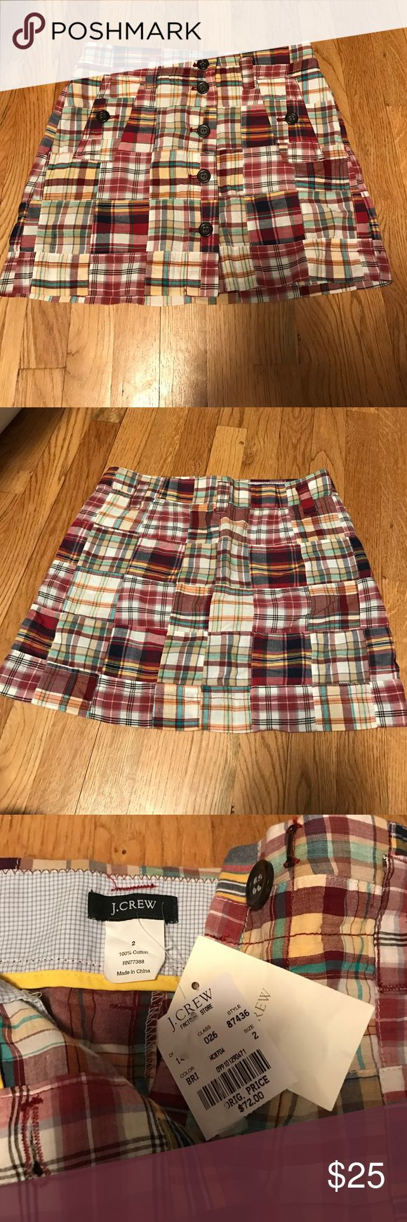 J Crew patchwork Mini Skirt NWT J Crew mini skirt (from factory store) patchwork skirt, never worn , still has tags on, button down whole front with additional eyelet close J. Crew Skirts Mini