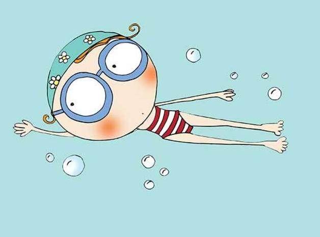 Ilustraciones - Nadadora - hecho a mano por lacajadepintura en DaWanda