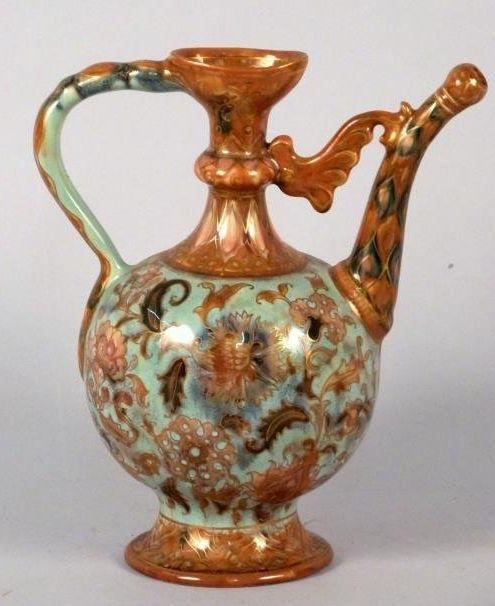 "Zsolnay Hungarian Porcelain Pitcher Arabesque form with elongated spout, underglaze and gilt decorated. 8 1/4"" H.14/E176U"
