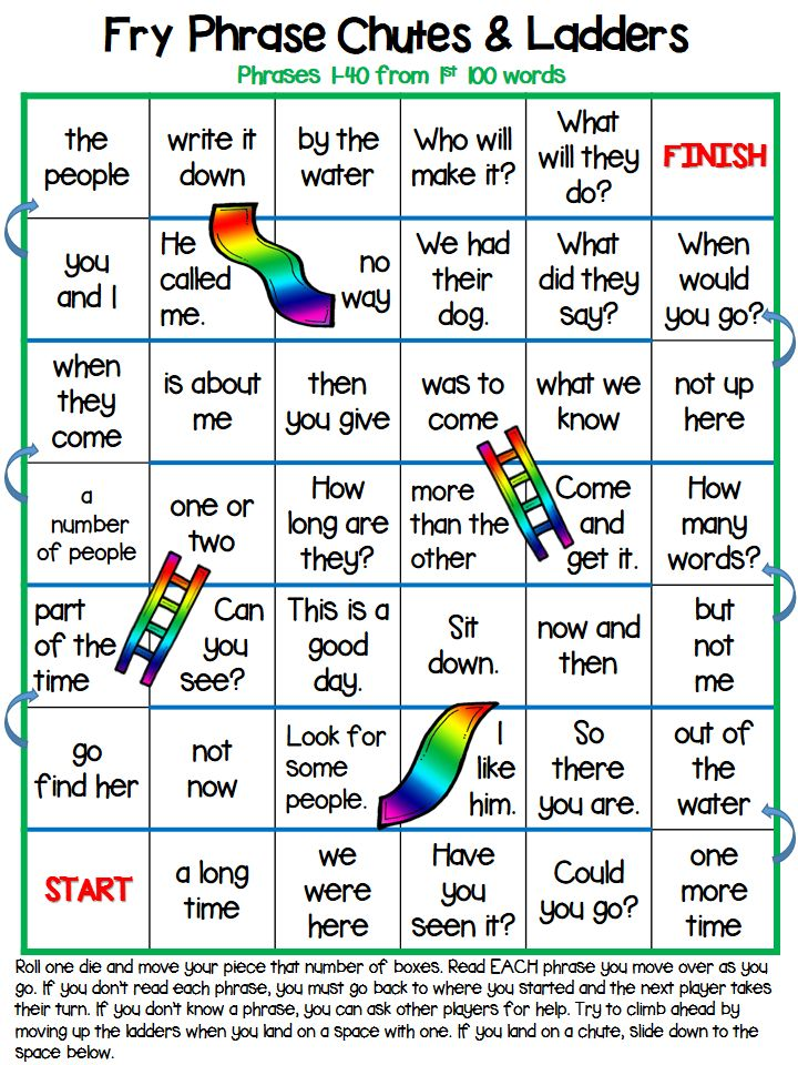 Fry Phrase Chutes and Ladders 1 & 2