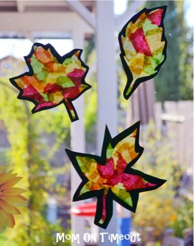 Stained Glass Fall Leaves {kids craft}, these will  be super cute in my big window!