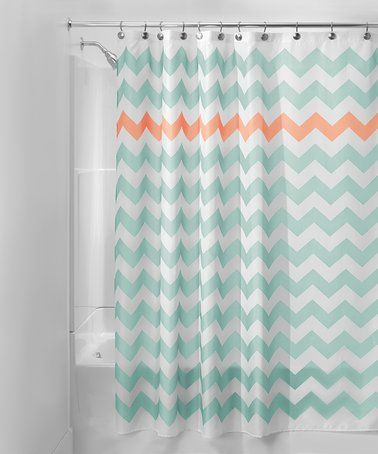 Look at this #zulilyfind! Turquoise & Coral Chevron Shower Curtain #zulilyfinds