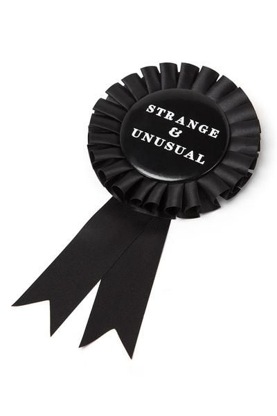 STRANGE. Live people ignore the strange and unusual. I myself am strange and unusual. - Black Ribbon.- Size 8.5x18cm.- ONE SIZE. Adorn anything and everything w